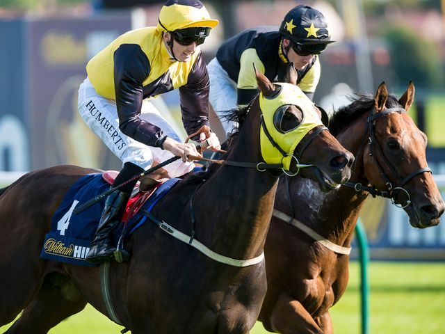 Go Far (ridden by Martin Harley) wins the William Hill Ayr Bronze Cup