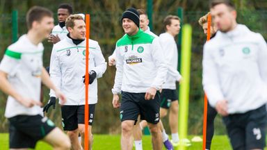 Anthony Stokes (centre in hat) during a Celtic training session