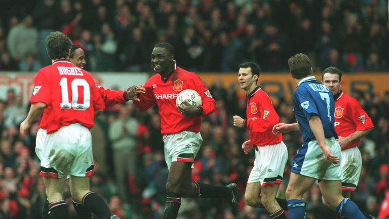 Andy Cole netted five in the 9-1 win over Ipswich