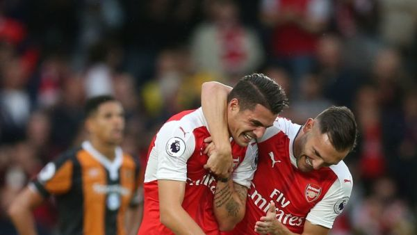 xhaka celebrates first arsenal goal with lucas perez