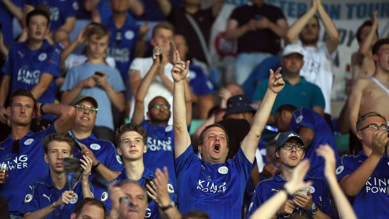 Fans cheer for Leicester prior to the Champions League Group G match at Club Brugges
