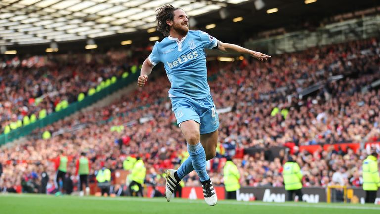 Joe Allen celebrates his equaliser for Stoke City