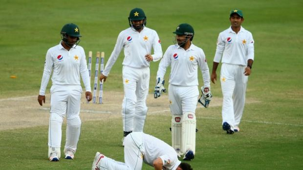 Yasir Shah celebrates taking 100 wickets in just 17 Tests
