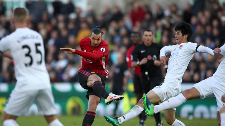 Manchester United's Zlatan Ibrahimovic scores his side's second goal