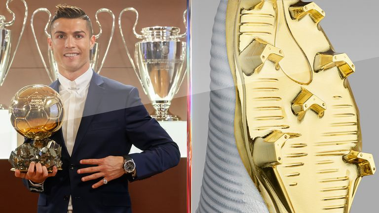 Nike has paid tribute to Ballon d'Or winner Cristiano Ronaldo with gold-soled boots