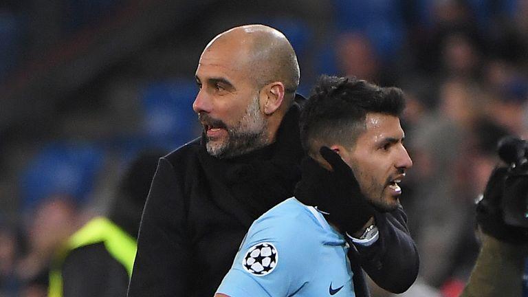Pep Guardiola congratulates Sergio Aguero after Manchester City's emphatic win in Basel