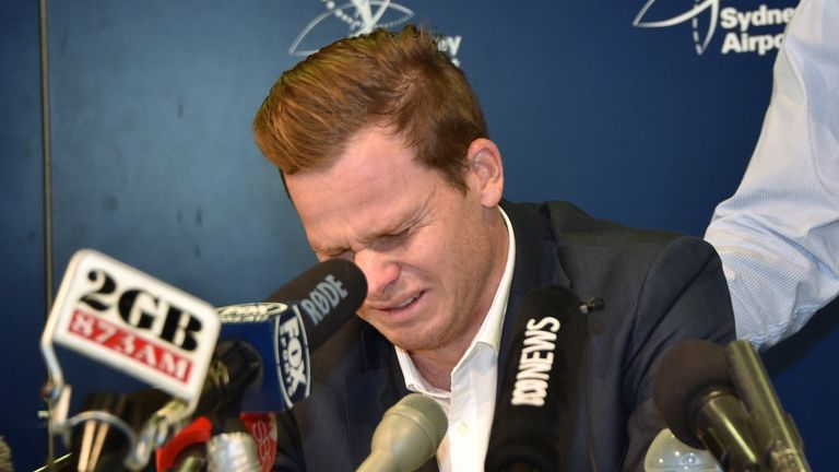 Smith breaks down in tears as he addresses the Australian media