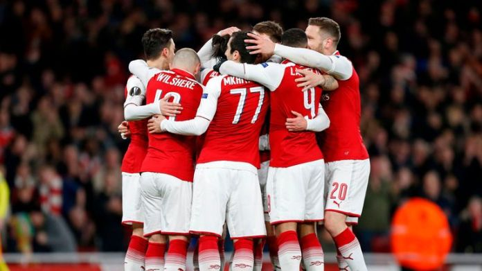 Arsenal celebrate Aaron Ramsey's goal against CSKA