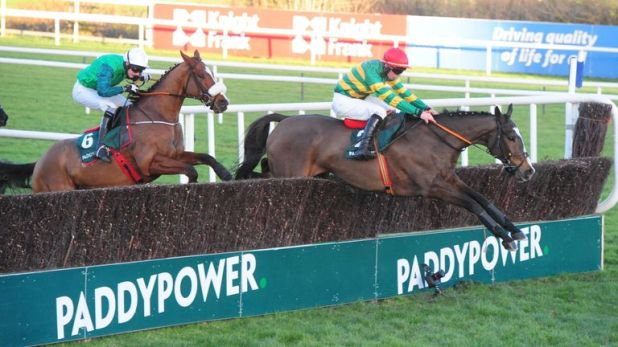 Anibale Fly jumps the last fence on his way to winning the Paddy Power Chase at Leopardstown