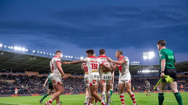 St Helens celebrate another try as they rack up 34 points at the KCOM