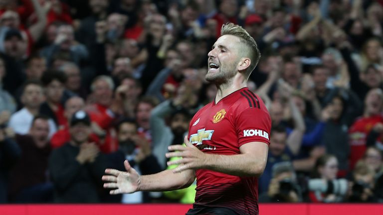 Luke Shaw has played every minute for United in the Premier League this season