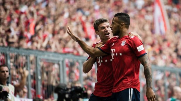 Tolisso celebrates levelling against Bayer Leverkusen
