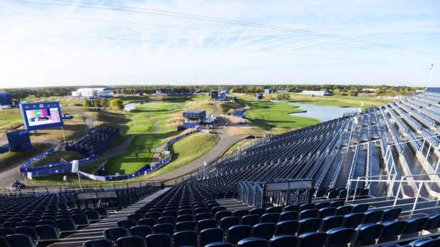 The grandstand at the first tee at Le Golf National holds 7,000 spectators