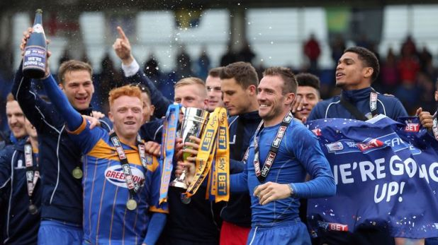Woods and Lawrence won promotion with Shrewsbury Town in 2015