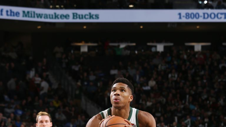 MILWUAKEE, WI - OCTOBER 27:  Giannis Antetokounmpo #34 of the Milwaukee Bucks shoots the ball against the Orlando Magic on October 27, 2018 at the Fiserv Forum in Milwaukee, Wisconsin. NOTE TO USER: User expressly acknowledges and agrees that, by downloading and or using this Photograph, user is consenting to the terms and conditions of the Getty Images License Agreement. Mandatory Copyright Notice: Copyright 2018 NBAE (Photo by Gary Dineen/NBAE via Getty Images)