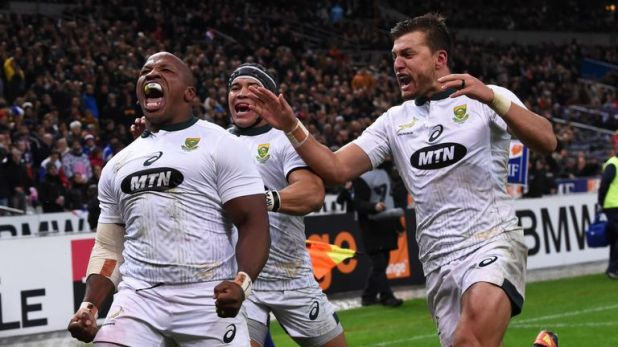 Bongi Mbonambi scored the match-winning try in the final play of the game as the Springboks beat France in Paris