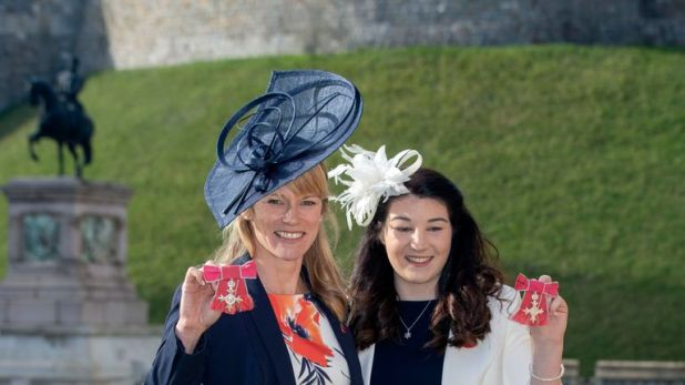 Both women with their MBE medals following an investiture ceremony at Windsor Castle