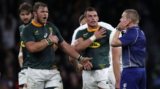 Referee Angus Gardner consulted the TMO before declining to award the Springboks a kickable penalty against England