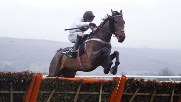 Nico de Boinville riding Brain Power clear the last to win the Unibet International Hurdle at Cheltenham