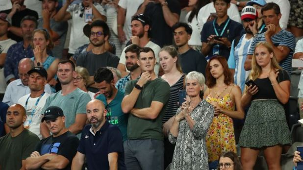 Both Judy and Jamie Murray watched the match unfold