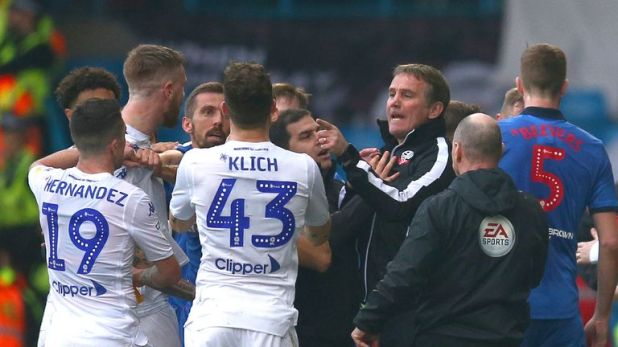 Phil Parkinson argued with Leeds players before being sent off at Elland Road last month