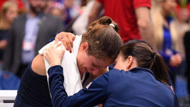 Konta (L) was left physically and mentally drained after inspiring GB to victory on Saturday