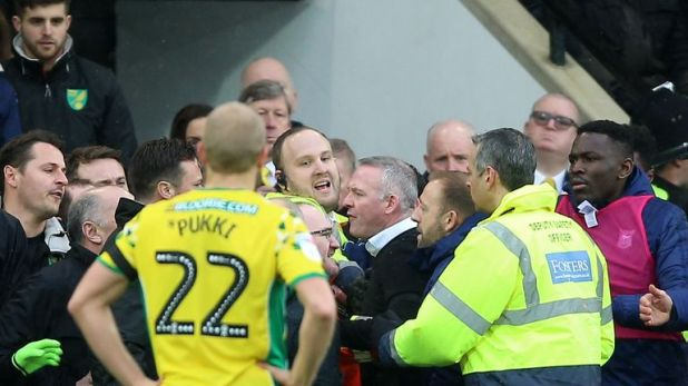 Paul Lambert was at the centre of a bust-up before half-time at Carrow Road