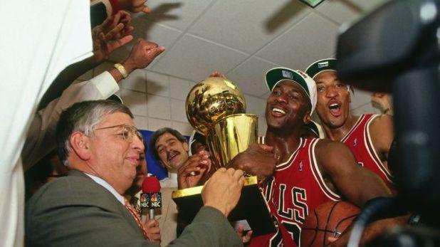 Michael Jordan celebrates his third NBA title win with the Chicago Bulls