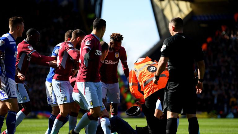 Paul Mitchell was taken to the ground after attacking Grealish