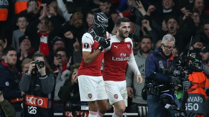 Aubameyang wears a mask to celebrate his second goal against Rennes