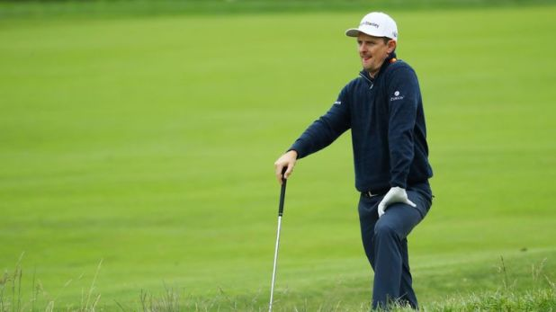 Justin Rose slipped into a tie for third place at Pebble Beach