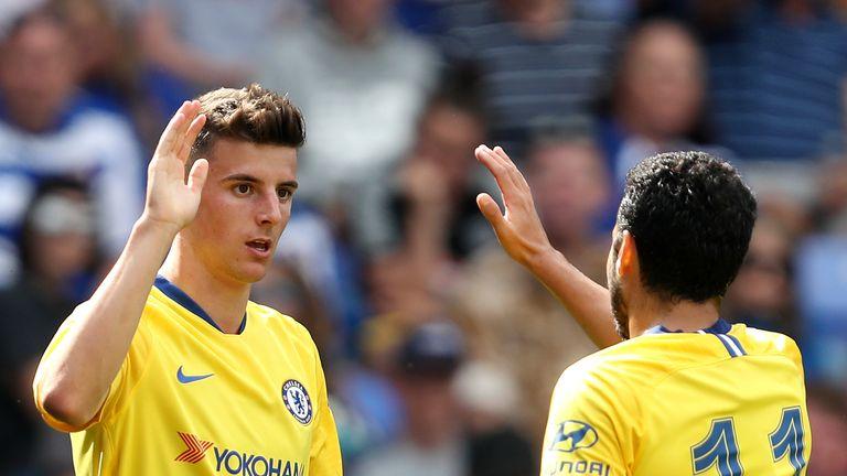 Chelsea's Mason Mount (left) celebrates scoring his side's third goal