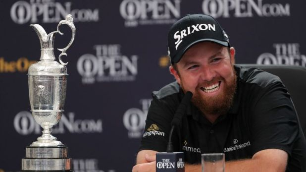 Shane Lowry with the Claret Jug at his press conference after winning The Open