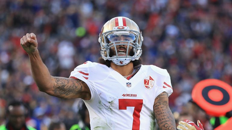 Kaepernick left the San Francisco 49ers in March 2017