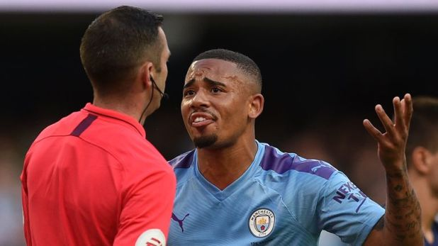 Gabriel Jesus remonstrated with referee Michael Oliver after his goal was disallowed following a VAR decision