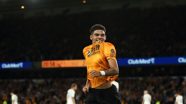 Gibbs-White shows his delight after netting at Molineux