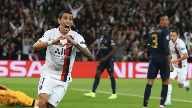 Angel Di Maria celebrates scoring against his former club at the Parc des Princes
