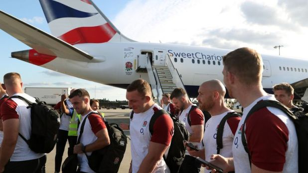 The England Rugby team flew to Japan on Sunday night ahead of the World Cup