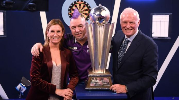 Barry Hearn with Peter 'Snakebite' Wright, winner of the World Darts Championship