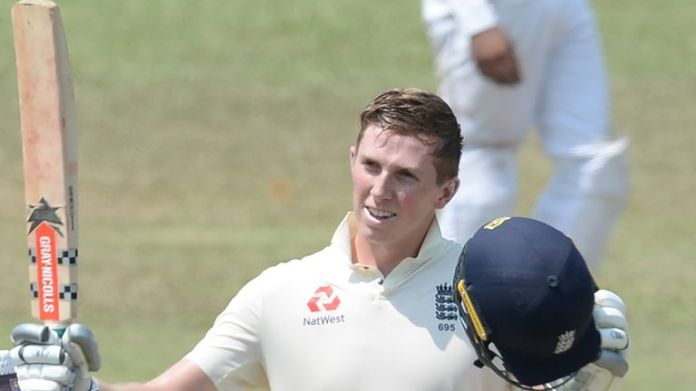 England's Zak Crawley celebrates after scoring a century against a Sri Lanka Board President's XI in Colombo in March