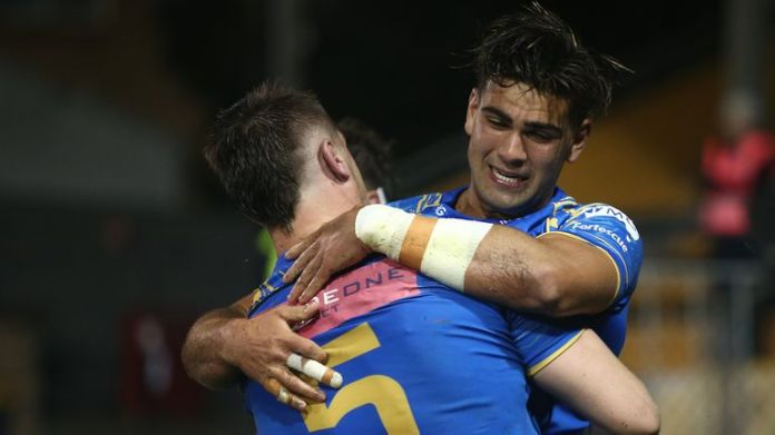 Byron Ralston celebrates his sensational try for the Force, but they remain winless in Super Rugby AU