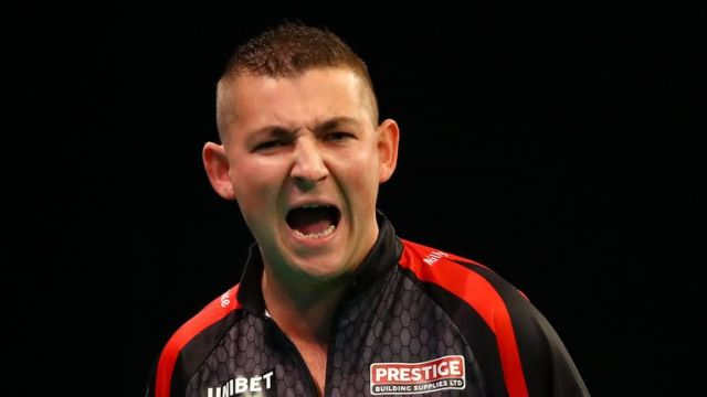 Nathan Aspinall will meet World Matchplay champion Dimitri Van den Bergh for a place in the semi-finals
