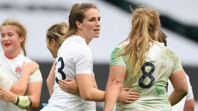 Emily Scarratt celebrates winning penalty as Red Roses stole victory from the jaws of defeat