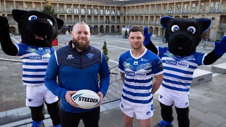 Halifax head coach Simon Grix and player-coach Scott Grix with the club's new panther mascots