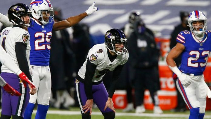 The usually reliable Ravens kicker Justin Tucker struggled in the conditions in Buffalo, missing two kicks that could have given Baltimore a half-time lead (AP Photo/John Munson)