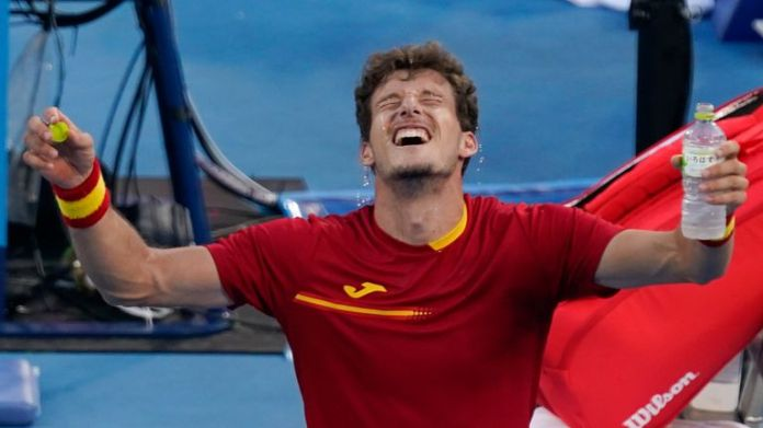 Pablo Carreno Busta taking it all in after securing a bronze medal at the Olympic Games