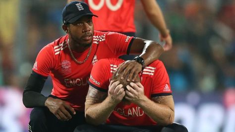 Chris Jordan consoles Ben Stokes following England's defeat to West Indies in the final of the 2016 T20 World Cup in Kolkata