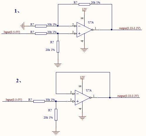 請教一個運放的基本電路的選擇問題(使傳感器模擬信號的5V范圍轉3.3V范圍) - 放大器 - 放大器 - E2E™ 中文支持論壇
