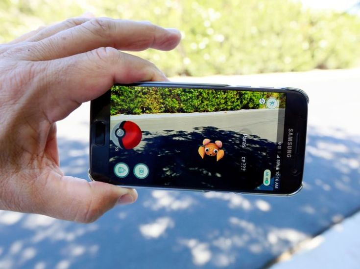 A man plays Pokemon GO in Palm Springs, California