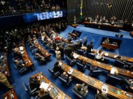 Members of of the federal Senate vote on impeachment of Dilma Rousseff